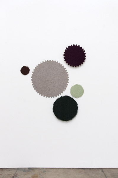Johanna Unzueta, Top Gear II, 2012Felt, thread, wood, and hardware, 58 x 53 x 3 inches