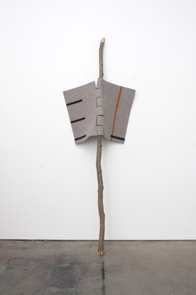 Johanna Unzueta, Hinge, 2012Felt, thread, and recycled tree branch, 89 x 30 x 13 inches