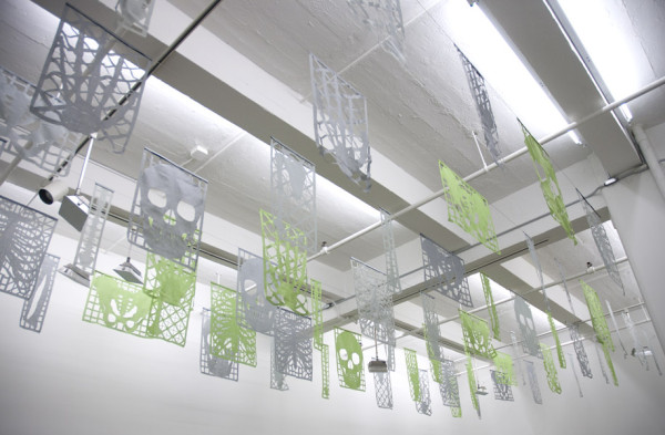 Installation view Lia Chaia, Esqueleto Áereo (Aerial Skeleton), 2012 Laser cut textile, dimensions variable, edition of 3