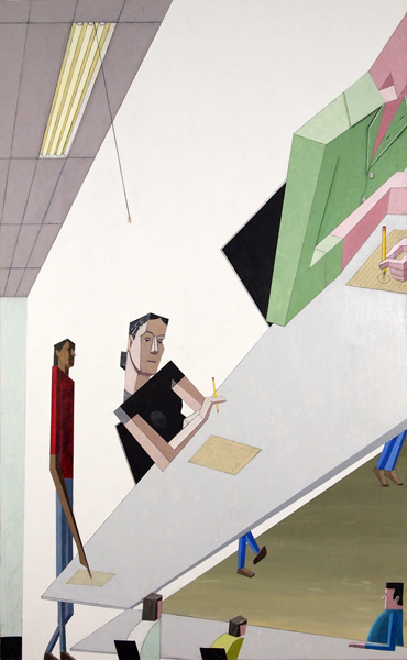 Mernet Larsen, Lecture, 2011 Acrylic and tracing paper on canvas 58 x 36 inches