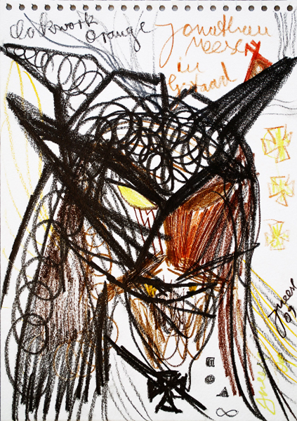 Jonathan Meese, 1.Kolonne, 2009 Crayon on paper, 16 1/2 x 11 3/4 inches
