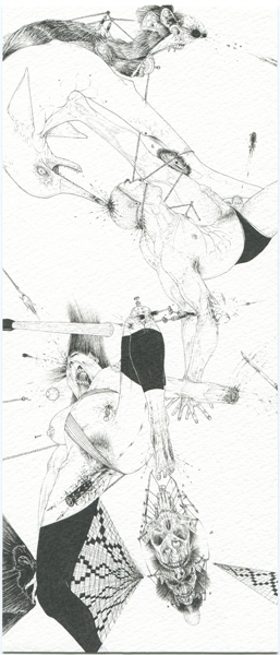 Ralf Ziervogel, O.T, 2011 Ink on paper, 9 3/8 x 4 1/8 inches