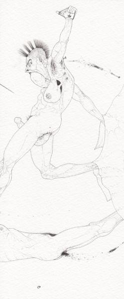 Ralf Ziervogel,  OVT, 2010 Ink on paper, 9 3/8 x 4 1/8 inches