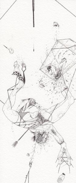 Ralf Ziervogel, AV, 2010 Ink on paper, 9 3/8 x 4 1/8 inches