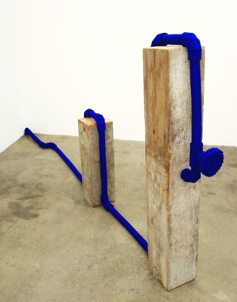 Johanna Unzueta,  untitled, 2011 Felt and wood beams,  52 x 7.5 x 118 inches