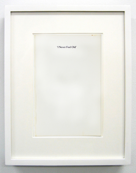 Matthew Higgs,  I Never Feel Old, 2010 Framed book cover,  12.75 x 10 inches