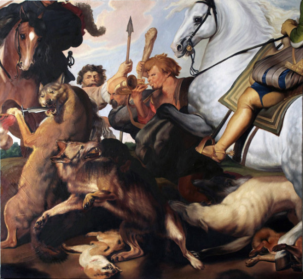Van Hanos,  Rubens depiction of men as beasts, 2005-2012 Oil on canvas,  49.5 x 53.5 inches