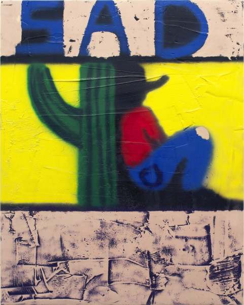 Andrew Birk, XOCHIMILCOCOWBOY, 2015 Aerosol enamel and Bondo® on wood panel, 60 x 48 inches (152.40 x 121.92 cm)