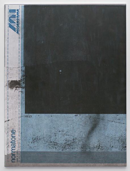 "Manor Grunewald,  E.H.D (Mecanorma, blue #04), 2015 Oil, acrylics, spraypaint, UV print on synthetic canvas, 150 x 200 cm (59"" x 78 ¾"")"