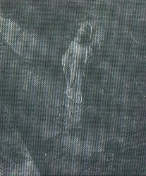 "Manor Grunewald,  E.H.D (Handling Mesh #02), 2015 Oil, UV print, Mesh fabric on canvas, 50 x 60 cm (19 ⅝"" x 23 ⅝"")"
