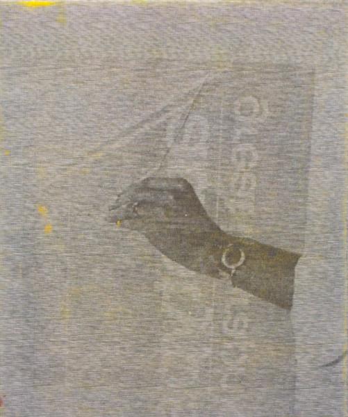 "Manor Grunewald,  E.H.D (Handling Mesh #03), 2015 Oil, UV print, Mesh fabric on canvas, 50 x 60 cm (19 ⅝"" x 23 ⅝"")"