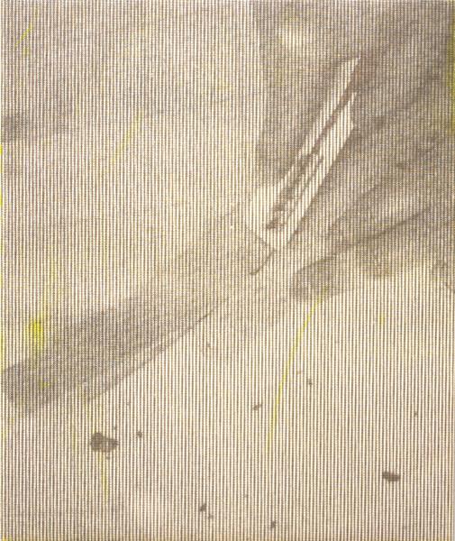 "Manor Grunewald,  E.H.D (Handling Mesh #04), 2015 Oil, UV print, Mesh fabric on canvas, 50 x 60 cm (19 ⅝"" x 23 ⅝"")"