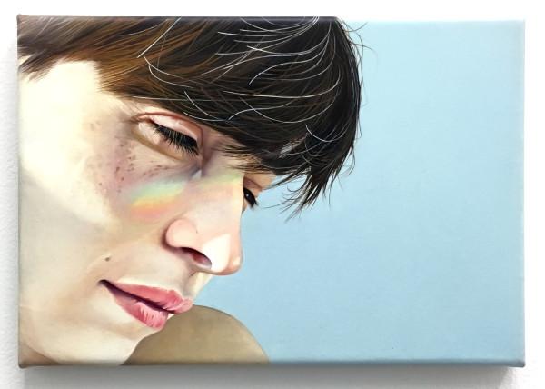 """Claire Decet, Friendly Faces, 2015 Oil on canvas, 29 x 20 cm (11 ⅜"""" x 7 ⅞"""")"""
