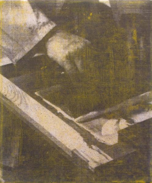 "Manor Grunewald,  E.H.D (Handling Mesh #05), 2015 Oil, UV print, Mesh fabric on canvas, 50 x 60 cm (19 ⅝"" x 23 ⅝"")"