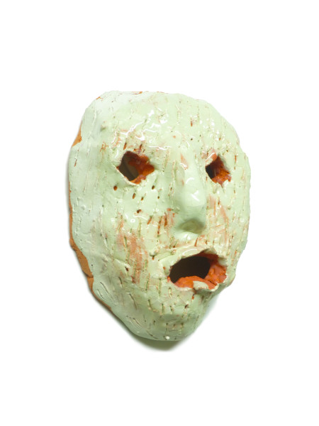 "Eric Croes, Petit masque menthe, 2015 Enameled white sandstone, 10.5 x 3.5 x 8.5 cm (4 ⅛"" x 1 ⅜"" x 3 ⅜"")"