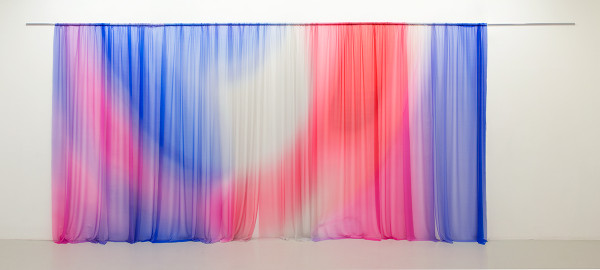 Justin Morin, How to drape Petrolina's stage,  2015 Printed silk, 126 x 204 inches (320.04 x 518.16 cm)
