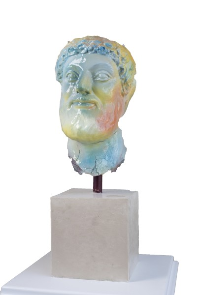 Marc Horowitz, The stranger smiles with satisfaction, 2016, Clay, resin, spraypaint, plaster, 22 x 7 x 11.5 inches (55.88 x 17.78 x 29.21 cm)