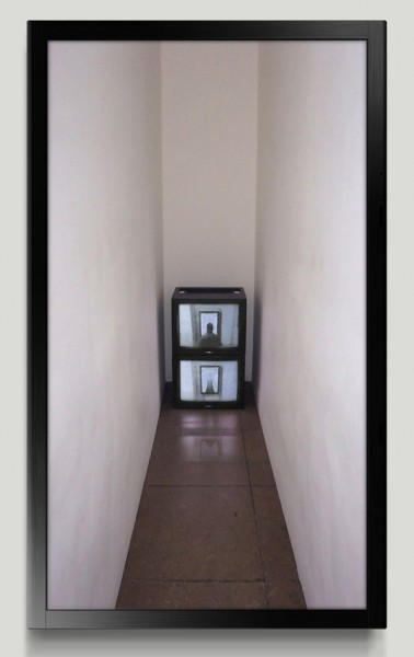 "Siebren Versteeg, Portable Corridor, 2015Computer program with live camera feed output to 50"" plasma screen, Edition 1 of 3"