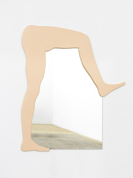 Amber Renaye,  Untitled Mirror (Bent Legs), 2016Birch Plywood, Acrylic, Mirror, 40 x 50 inches (101.6 x 127.0 cm)