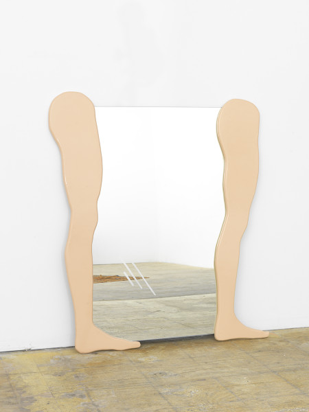 Amber Renaye, Untitled Mirror (Straight Legs), 2016,  Birch Plywood, Acrylic, Mirror, 40 x 50 inches (101.6 x 127 cm)