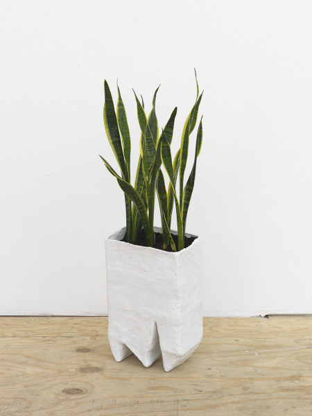Amber Renaye, Planter, 2016,  Plaster wrap and cellu-clay with acrylic paint, 18 x 11 x 7 (45.72 x 27.94 x 17.78 cm)