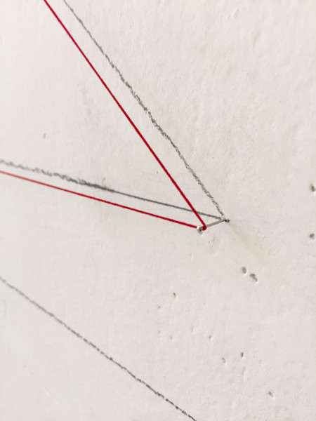 Site Intervention #6, study for musical notations BQ, detail, 2016  Graphite, thread, paint
