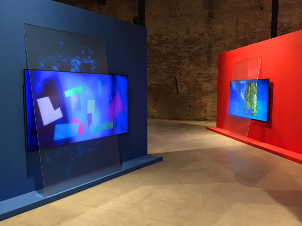 Monika Bravo, Arche-Types: The Sound of the World is Beyond Sense, 2015Wood, paint, projections, glass, monitor, media player, speakers, 4.4 x 2.3 meters (each wall)Exhibited at 2015 Venice Biennale, Vatican Pavillion