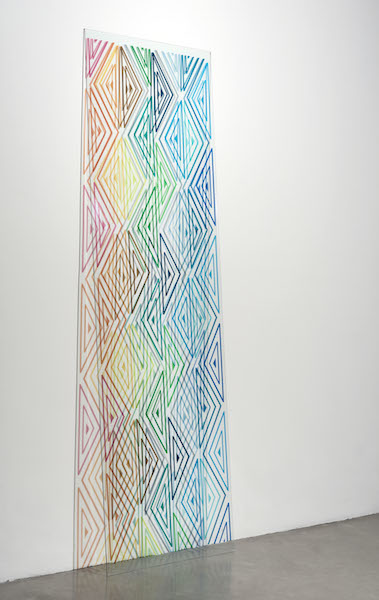 Monika Bravo, Study for URUMU banda, 2014  Pigment on glass, aluminum base, 82 x 24 inches, Edition of 3