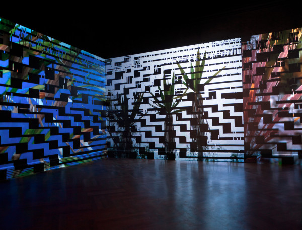 Monika Bravo, URUMU (Weaving Time), 2014 4 channel projection, Projectors + media players, installation view at Waterweavers: The River in Contemporary Colombian Visual and Material Culture held at The Bard Graduate Center. Curated by Jose Roca ©Juan Luque