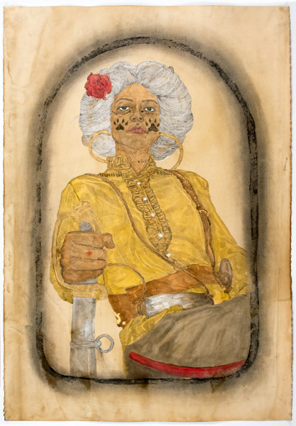 Umar Rashid, Irene of the Sisters of the Red Wood, 2014  Acrylic, ink, coffee, and tea on paper