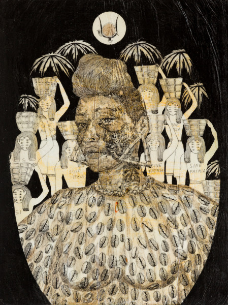 """Umar Rashid, LaDonna 1793 of Haiti from the """"Black Athenians"""" series, 2015  Acrylic and ink on canvas, 24 x 18 inches"""