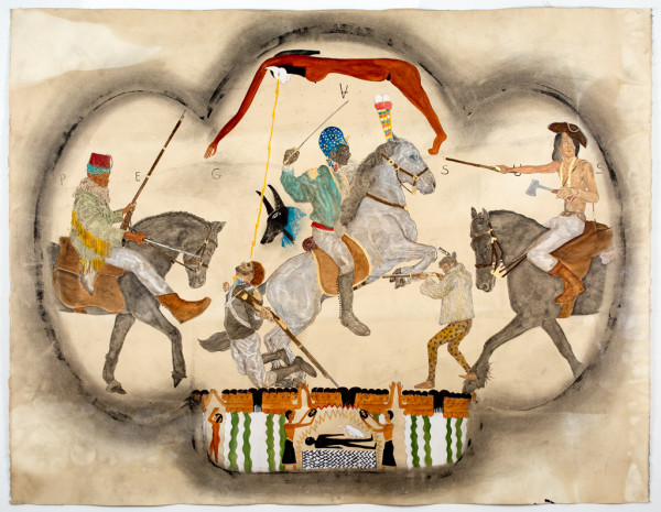 Umar Rashid, La Mort D'Anibal, 2014  Acrylic, ink, coffee, and tea on paper, 40 x 52 inches (framed)