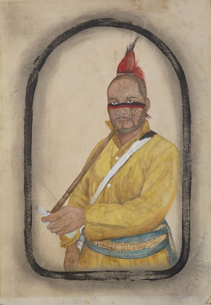 Umar Rashid, Susquehanna Sam, 2013  Acrylic, ink, coffee, and tea on paper