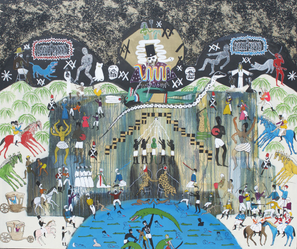 Umar Rashid, The Palace of the Quilombos, 2015  Acrylic and ink on canvas, 72 x 84 inches