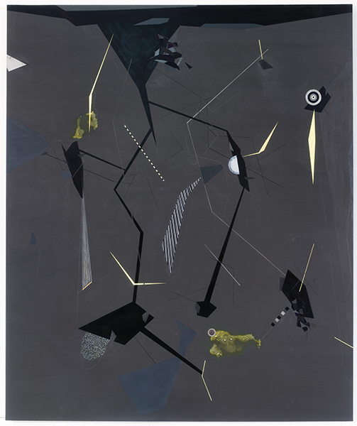 Chart Moving through space through tunnels into circle pools with diamond spots and crystal planets with horizon above and background of seasons and checkered flickering elevators through metal worlds with fragments of constellations of yellow ..., 2016 Acrylic and ink on canvas, 72 x 60 in. (183 x 152 cm)