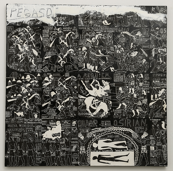 Pegaso, as inspired by San Juan Miguel. (The Battle of Los Angeles), 2016 Acrylic and ink on canvas, 48 x 48 in.