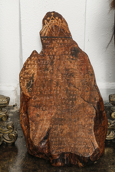 Stele from the War of the Dancing Machetes, 2012 Olive wood, varnish