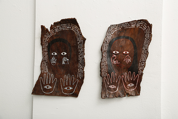 The Imperial Tattoo System, 2014 Acrylic and ink on pine bark, Approx. 12 x 10 in. each