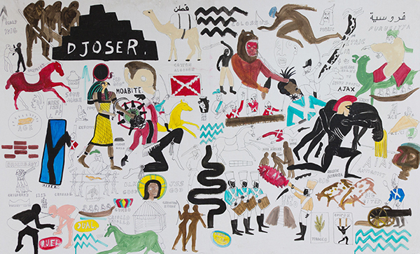 The Battle of Memphis (On the Ave. where it lives and dies, violently, silently)., 2016 Acrylic, and ink on paper mounted to canvas 71 x 42 3⁄4 inches