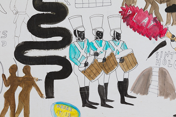The Battle of Memphis (On the Ave. where it lives and dies, violently, silently)., detail, 2016 Acrylic, and ink on paper mounted to canvas 71 x 42 3⁄4 inches
