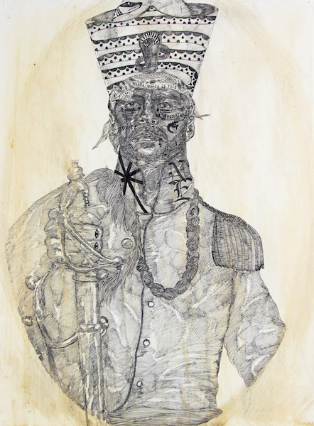 Jeroen the Just, Pharaoh of Novum Eboracum and Harlem. Messier by the Object., 2017Ink, tea, and coffee on paper mounted to canvas30 x 22 in. (76 x 56 cm)
