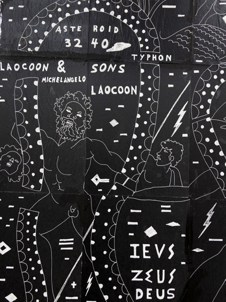 Laocoon and Sons. Another Tragedy. Stele for the Battle of Troy. The crushing loss that became victory. Or Zeus vs. Typhon., detail, 2017Acrylic, ink, and photocopy transferred to canvas60 x 40 in. (152 x 102 cm)