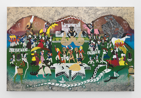 Un dimanche après-midi à l'Île de la gouverneurs. Or, Borough Check. The old money don't want a new world so the Revolution had to get sabotaged somehow. Murder was the case. And Horus wept. 1793., 2016Acrylic, ink, and mica flake on canvas44 x 66 in. (112 x 168 cm)