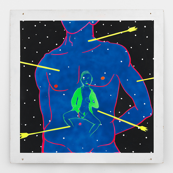 David WojnarowiczYokio Mishima St. Sebastian, 1983Paint and stencil on masonie, 48 x 48 in.