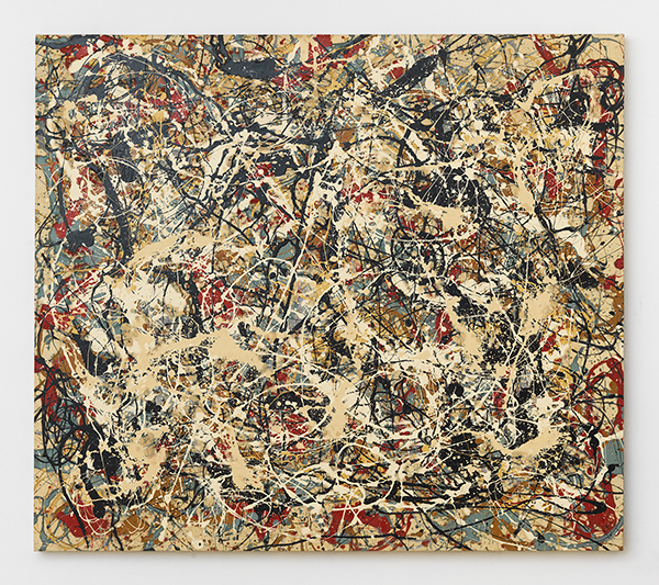 Mike BidloNot Pollock: Study in beige, green, red, and black, 1983Acrylic on canvas, 69 x 79 in.