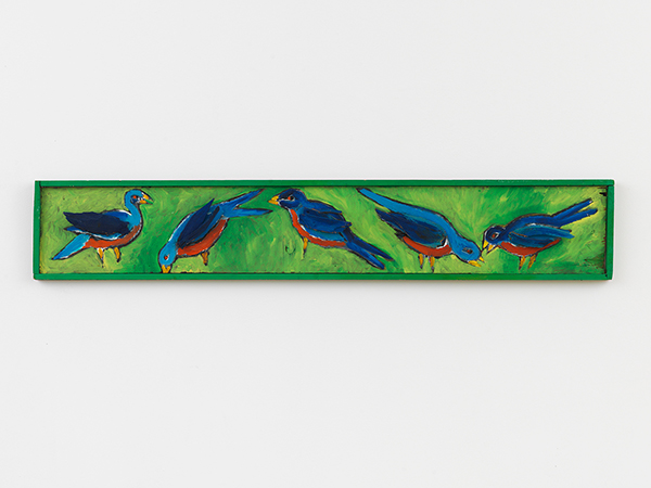 Russell SharonBirds, 1985Oil on wood, 13 x 76 in.