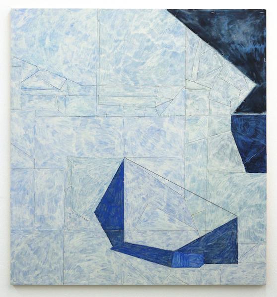 Florian Schmidt, Untitled (Immunity) 25, 2012  Acrylic gel, lacquer, vinyl, cardboard, wood, 51 x 47 inches (130 x 120 cm).
