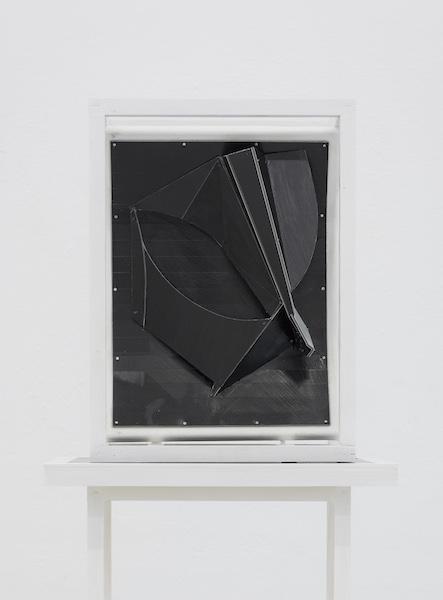Florian Schmidt, Untitled (Skip)11, 2015  Acrylic gel, vinyl, cardboard, canvas, wood17 x 12 x 8 inches (44 x 31 x 21 cm)Galerie für Gegenwartskunst - E-Werk, Freiburg, Germany, 2015