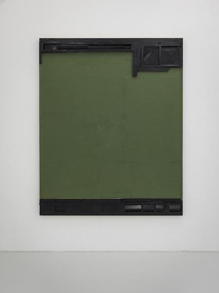 Florian Schmidt, Untitled (Digue)13, 2014  Acrylic medium, lacquer, vinyl, sawdust, cardboard, wood,  82 x 67 inches (210 x 170 cm)Galerie für Gegenwartskunst - E-Werk, Freiburg, Germany, 2015