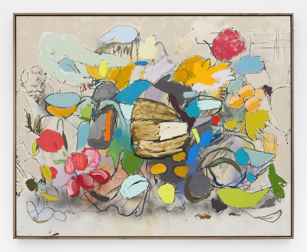 """Marc Horowitz, MAN: """"I've been standing like this for about a half an hour."""", 2017  Oil stick, oil, charcoal, acrylic spray paint on canvas in artist's frame45 × 65 inches (114.5 × 165 cm)"""